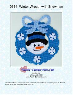Winter Wreath with Snowman-Plastic Canvas by PlasticCanvasMania