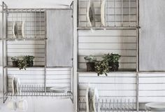 HUGE Metal Wall Rack With Hooks & Shelves - From Antiquefarmhouse.com - http://www.antiquefarmhouse.com/current-sale-events/country7/metal-wall-shelf.html