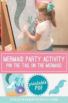 The perfect party game for your mermaid themed birthday. This printable pin the tail on the mermaid game is available for immediate download. #mermaid #birthday