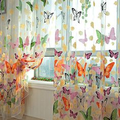 Offset Print Window Door Curtains Drapes Panels Sheer Voile Tulle Butterfly Pattern Shade Curtain 1*2M