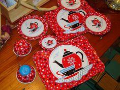 Terrific OHIO ART Tin Litho Vintage Childrens' Dishes - TEAPOT Motif -