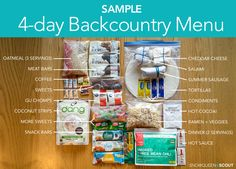 Sample 4-day Backcountry Menu — snowqueen & scout