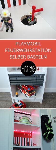 Eine Feuerwehrstation für die Playmobilfiguren der Kinder selber machen. Ein toller IKEA Hack aus dem bekannten IKEA BILLY Büherregal und der Limmaland Dekorationsfolie Feuerwache.