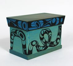 Rod Smith Painted Red and Yellow Cedar Bentwood Chest: Tropical Dream
