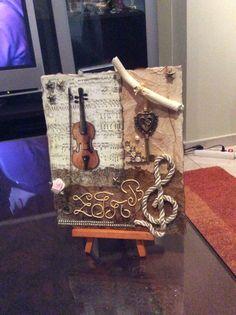 Vintage . Decoupage | patchwork card violin-key