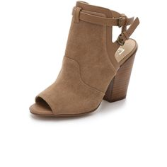 Joe's Jeans Ghost Open Toe Booties featuring polyvore, fashion, shoes, boots, ankle booties, tobacco, leather booties, strappy booties, chunky booties, open toe ankle booties and cutout boots