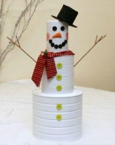 bonhomme de neige/boites de conserve