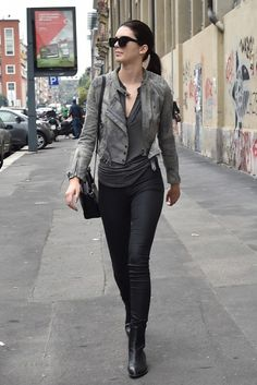 Kendall Jenner rocks grey tops and black bottoms on the streets of NYC.