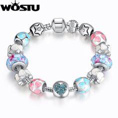 European Style Romantic Silver 925 Heart Charm Murano Beads Bracelet for Women Fit Original WST Bracelets Brand DIY Jewelry