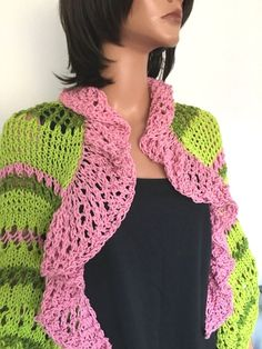 Hand Knits 2 Love Cotton Shrug Line Rose Valence Designer Fashion Summer Lace  | eBay