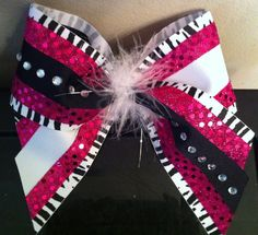 Custom Cheer Bow Black/White Zebra w/ Pink Sequins by MelsBowChic, $12.00