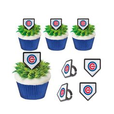 MLB Chicago Cubs Rings & blue baking cups.- Cubs baseball party