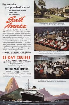 Moore-McCormack Cruise Lines Vintage Ad - 1960's (Cruising on the SS Argentina) # 226