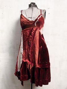 the Ophelia dress.. a patchwork of antique silk velvet,  vintage scarves + cashmere,  lace & stitches..