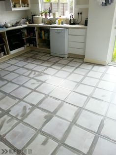painted tile floor using B-I-N primer and Behr concrete & garage ...