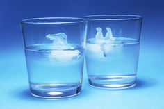 "Polar Ice - Two silicon cups produce these unique ice cubes that depict a polar bear and 2 penguins standing on a glacier. As the ice cubes melt in your drink they recreate the real-life scenario that's being caused by climate change. - Designed by Atsuhiro Hayashi - Set of two ice cube makers (penguin and polar bear) - Size: 3.1"" x 2.8"" - Materials: silicone"