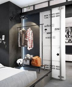Small Modern Industrial Apartment Decoration Ideas – Decorating Ideas - Home Decor Ideas and Tips Industrial Bedroom Design, Industrial Apartment, Industrial Interiors, Industrial House, Apartment Interior, Modern Industrial, Apartment Design, Design Bedroom, Industrial Bookshelf