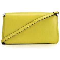Fendi micro Baguette crossbody bag (3,860 PEN) ❤ liked on Polyvore featuring bags, handbags, shoulder bags, yellow crossbody, crossbody purse, fendi crossbody, yellow shoulder bag and chain purse