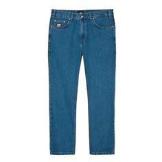 """Spodnie Jeansowe FLAVOUR BLUE Spodnie jeansowe skrojone w stylu """"loose fit"""" zapinane na suwak, z małym haftem PROSTO na prawej nogawce. Z przodu na małej kieszonce naszyta metka Klasyk. Na tylnych kieszeniach wyhaftowane logo Prosto. Dodatkowymi elementemi ozdobnymi spodni jest mnóstwo małych detali, m.in: ekologiczna skórka z logo PROSTO na tylnej części paska czy wytrzymały suwak YKK. Mom Jeans, Model, Blue, Fashion, Moda, La Mode, Fasion"""