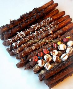 Buy Online on Etsy! A perfect foodie gift! Delicious Gourmet Chocolate dipped Pretzel Rods, dipped in your choice of Dark, Milk or White Chocolate, with a variety of yummy toppings!  Also great for Corporate Gifts, Thank You gifts, Get Well Soon presents, or a Just Because treat! Will also make a sweet addition to Birthday dessert tables & party favors for birthdays, baby showers, bridal showers, class room parties & more!