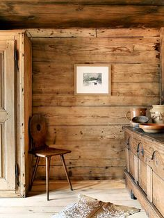 Bathroom Decor Ideas : Description A Zurich couple reimagines a centuries-old chalet as a modern-rustic weekend retreat Chalet Chic, Chalet Style, Chalet Interior, Interior And Exterior, Chalet Meribel, Mountain Cottage, Wall Treatments, Rustic Interiors, Log Homes
