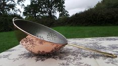 Sieve Vintage French Copper Pan Vegetable Colander Sieve Brass