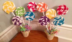 Items similar to Lollypop Plants for Candy themed parties (Sweet Shoppes, Candy Stores, Candyland, Hansel and Gretel or Candy Buffets) on Etsy Gingerbread Christmas Decor, Candy Land Christmas, Candy Christmas Decorations, Christmas Signs Wood, Birthday Party Decorations, Party Themes, Christmas Crafts, Candy Land Decorations, Xmas