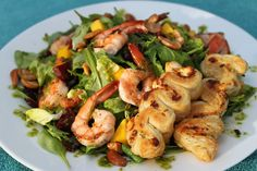 Pan Seared Shrimp Salad with Beetroot, Mango, Candied Cashews and Honey Sweet Herb Dressing - thecafesucrefarine.com
