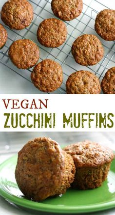 Subbed: mixture of unbleached and ww pastry flours to get 2 in total cup sugar added handful chopped walnuts handful raisins melted coconut oil. Vegan Zucchini Muffins, Zucchini Muffin Recipes, Veggie Muffins, Healthy Breakfast Muffins, Vegan Breakfast Recipes, Delicious Vegan Recipes, Vegan Sweet Bread Recipe, Zucchini Bread, Vegan Sweets