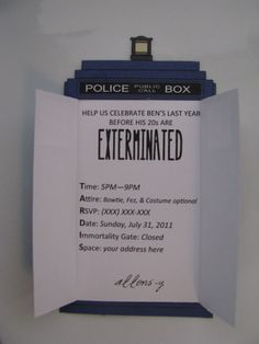 Oh my goodness... I must have these for my 30th!!! Just two more years..... Doctor Who TARDIS Invitation by Tammi42 on Etsy, $3.50