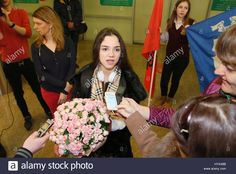 Moscow Region, Russia. 3rd Apr, 2017. Russian figure skater Evgenia Medvedeva, who has won the ladies competition at the 2017 ISU World Figure Skating Championships in Helsinki, Finland, during a welcome ceremony at Sheremetyevo International Airport. Medvedeva has broken her own world record total score with 233.41 points. Credit: Maria Antipina