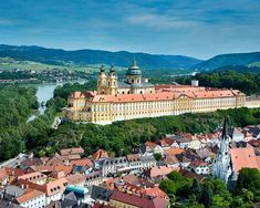 Austria~ Melk Abbey in the Wachau Valley--the termination port for our Danube cruise.Melk Abbey made famous by the Sound of Music. Cruise Europe, Cruise Travel, Budapest, Day Trips From Vienna, Wachau Valley, Danube River Cruise, Hallstatt, Prague Travel, Heart Of Europe
