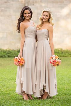Strapless Sweetheart Ruched Asymmetrical Chiffon Bridesmaid Dress