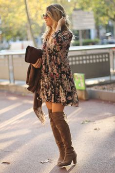 Bohemian_chic_outfit-over_the_knee_boots Chic Outfits boh Bohemianchicoutfitoverthekneeboots bohostyle freespirit gypsy Fall Fashion Outfits, Casual Winter Outfits, Mode Outfits, Look Fashion, Chic Outfits, Winter Fashion, Casual Summer, Hippie Fashion, Fall Dress Outfits