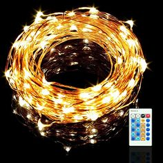 Sungluber LED String Fairy Lights 100 Bulbs Warm White Waterproof Copper Wire Light Set with Remote Intelligence Certified Adapter Control for OutdoorPartyWeddingChristmas Tree ** This is an Amazon Affiliate link. You can find out more details at the link of the image.