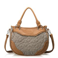Brown Denim PU Heart Shaped Handbag $33.55 www.fashionbagsource.com