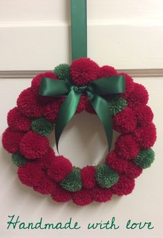 This item is unavailable Handmade Christmas, Christmas Diy, Christmas Decorations, Christmas Ornaments, Christmas Pom Pom Crafts, Holiday Crafts, Holiday Decor, Wreath Crafts, Diy Wreath