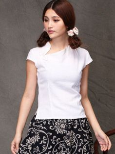 White Linen Short Sleeve Chinese Qipao / Cheongsam Shirt
