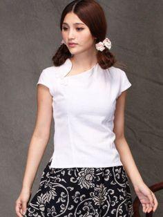 White Linen Short Sleeve Chinese Qipao / Cheongsam Shirt