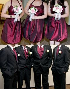 Maroon bridesmaids and groomsmen, for an Aggie wedding