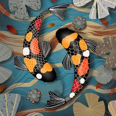 """Koi fish are the domesticated variety of common carp. Actually, the word """"koi"""" comes from the Japanese word that means """"carp"""". Outdoor koi ponds are relaxing. Framed Prints, Canvas Prints, Art Prints, Fisher, Japanese Koi, Japanese Dragon, Carpe Koi, Koi Fish Pond, Coy Fish"""