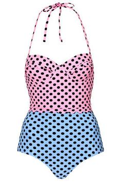 Loving this Topshop half pink, half blue with black polka dot swimsuit $72, get it here: http://rstyle.me/~24Vvq