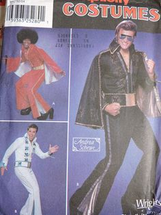 Elvis Michael Jackson Prince Cape Jumpsuit Costume Simplicity 9916 Pattern Uncut Adul Sizes 40 - 44 Halloween Costume Patterns, Halloween Costumes, Cool Patterns, Vintage Patterns, Michael Jackson Costume, Cape Jumpsuit, Fashion Show, Men's Fashion, Fashion Patterns