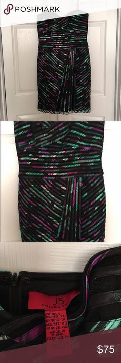 JS Collections Spaghetti Strap/Strapless Dress JS Collections Spaghetti Strap/Strapless Cocktail Dress - Multi color - Size 18 JS Collections Dresses Strapless