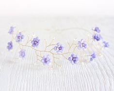 Purple wedding hair accessory, Violet floral crown, Lilac Bridal crown, Gold tiara, Flower crown, Pearls and crystals Wedding crown, Flower