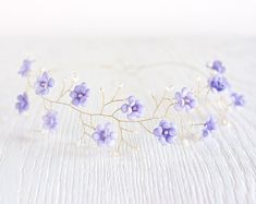 Purple wedding hair accessory, Violet floral crown, Lilac Bridal crown, Gold tiara, Flower crown, Pearls and crystals Wedding crown, Flower