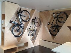space-saving bike storage ideas for small apartments. Indoor bike storage solutions are for people who can't part with their bicycle. Garage Storage, Storage Spaces, Storage Hooks, Wall Storage, Hidden Storage, Bicycle Storage Garage, Indoor Bike Storage, Loft Storage, Extra Storage