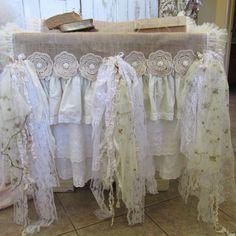 Tablecloth burlap runner shabby style tattered ruffles, lace, crochet petticoat style table dressing anita spero