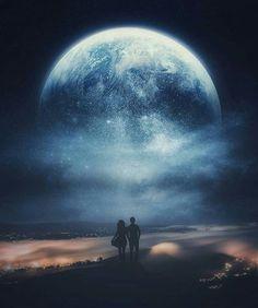 Space Phone Wallpaper, Beach Wallpaper, Galaxy Wallpaper, Alone Photography, Dark Photography, Beautiful Fantasy Art, Beautiful Moon, Fantasy Magic, Love Wallpapers Romantic