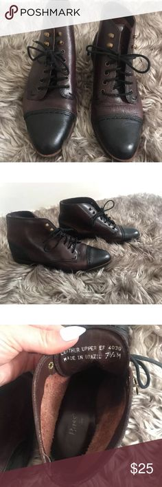 MAJOR PRICE DROP ⬇️Bass Brown & Black Ankle Boots Old vintage styled ankle boots. Lace up Boots. Good Condition no major signs of wear. Bass Shoes Ankle Boots & Booties